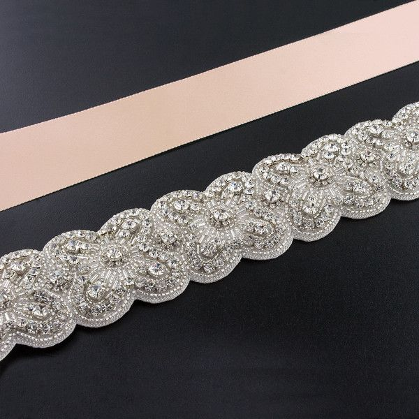 """Sash with Scalloped Crystal Applique - A dazzling accent for your dress, made with a detailed rhinestone applique on satin ribbon.  Choose from 22 unique ribbon colors.  Pictured here in """"light blush""""."""