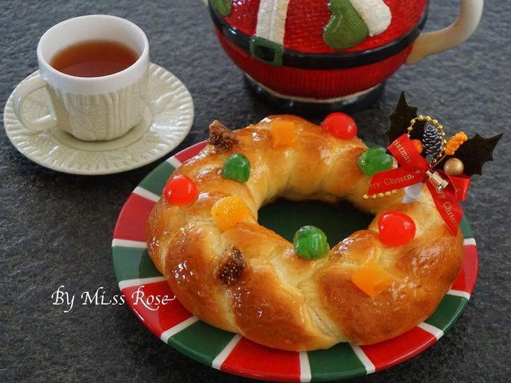 Christmas bread wreath 聖誕麵包圈