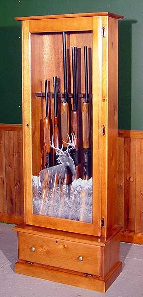 solid oak wood gun cabinet for storing your riffles with ...