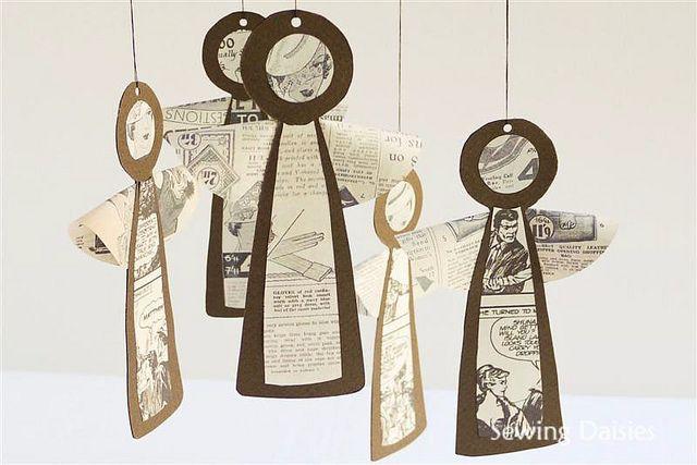 Newsprint Vintage Angels by Sewing Daisies
