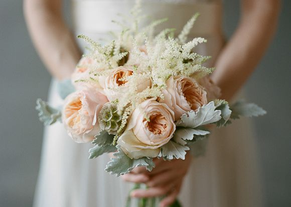 garden rose, dusty miller and astilbe bouquet by Humphrey's Flowers