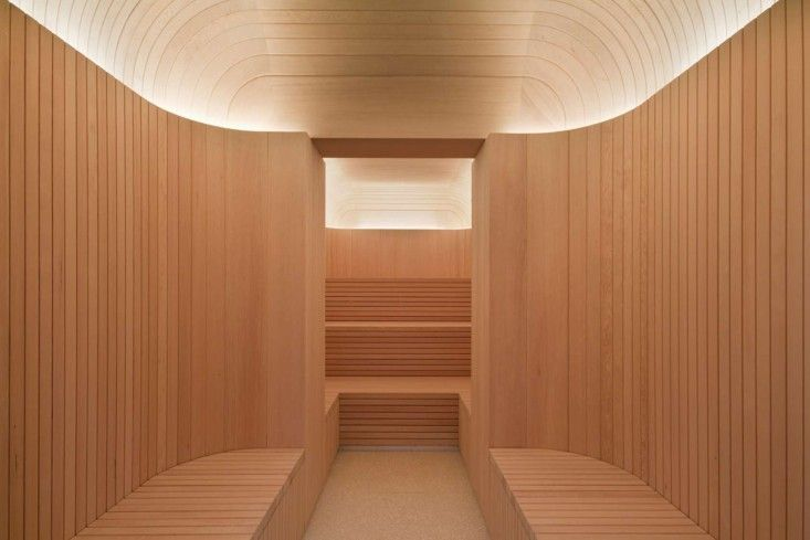 High-style sauna at the Akasha Spa, Hotel Cafe Royal London designed by David Chipperfield | Remodelista