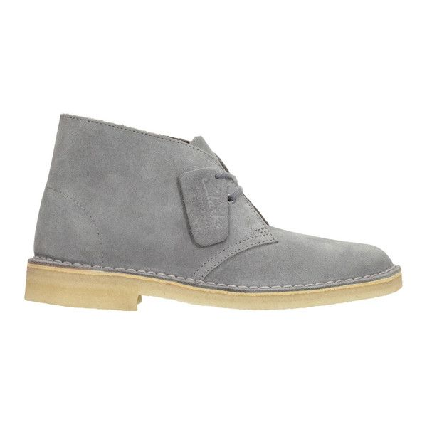 Clarks Originals Women's Suede Desert Boots - Blue/Grey (7.880 RUB) via Polyvore featuring shoes, boots, gray suede boots, suede boots, grey lace up boots, suede desert boots и low heel boots