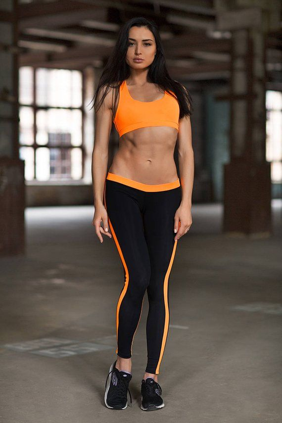 d7f968d3cba6 Yoga Set Clothes leggings women TOP LEGGINGS Basic Orange Low Rise Leggings  Activewear Tops Fitness