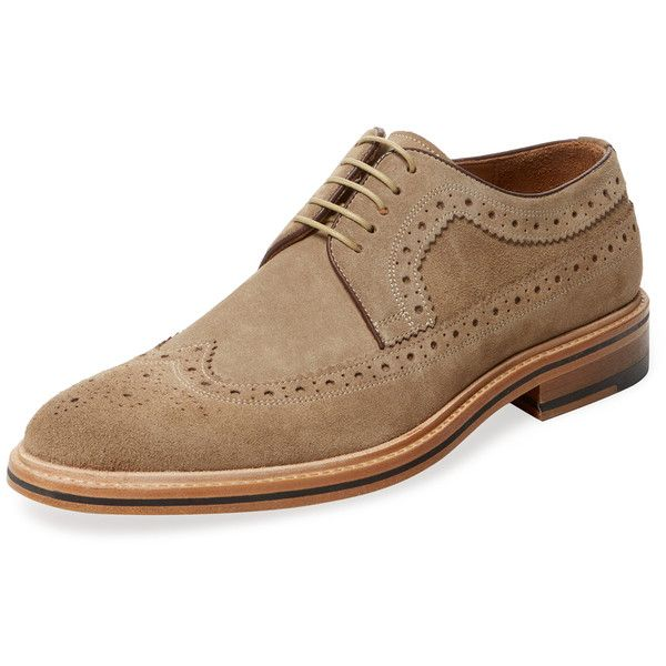 Modern Fiction Men's Wingtip Derby Shoe - Cream/Tan - Size 41 ($149) ❤ liked on Polyvore featuring men's fashion, men's shoes, men's dress shoes, mens cream dress shoes, mens derby shoes, mens brogues, mens tan shoes and mens shoes