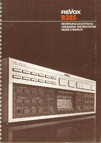 Revox B285 Receiver -- User Manual