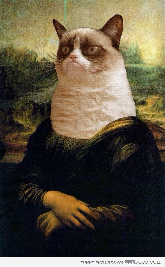 Mona Lisa with grumpy cat face art | Mona Lisa Art ...