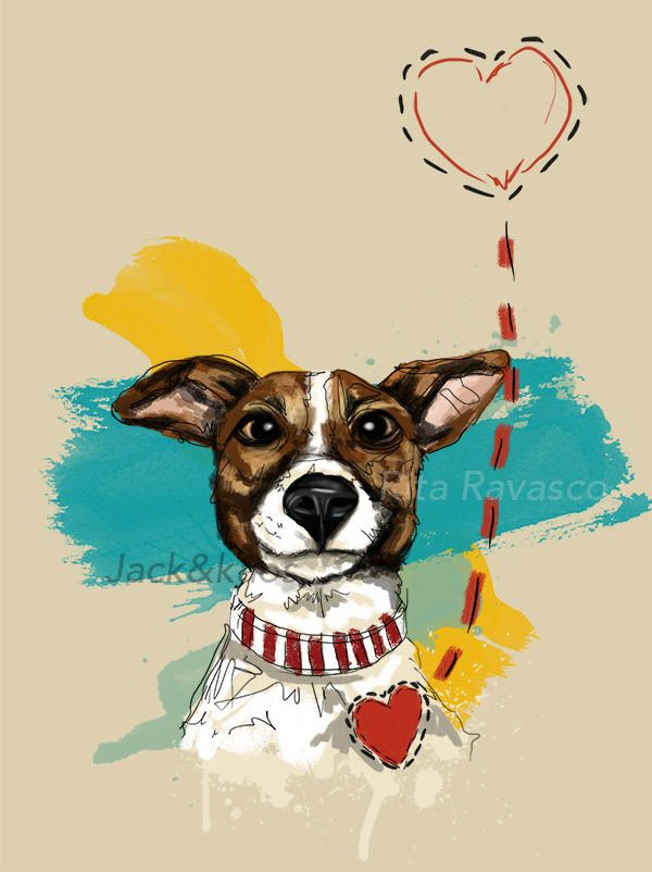 Jack Russell illustration Rita Ravasco Jack and Kaos http://www.jackandkaos.it/ https://www.facebook.com/ravascodraw/ #jackrussell #jackrussel #illustration #ritaravasco #digital #digitalillustration #draw