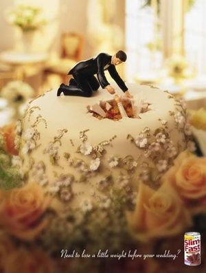 May not be politically correct, but it sure gets the point across to the target market. Pics of Slim Fast Wedding Ads.