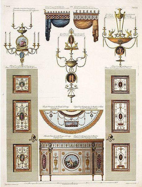 Details for the interiors of Derby House (26 Grosvenor Square) by Robert and James Adam. Published 1777.