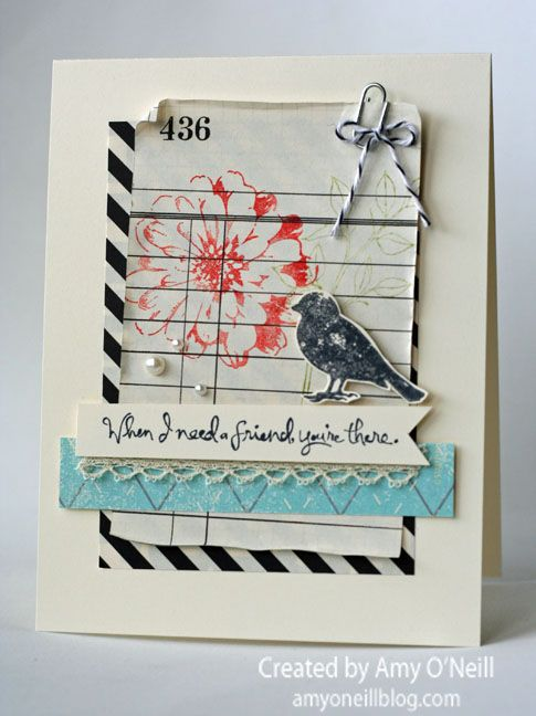 Great layers and details; have to use my mini paper clips with twine! Card by Amy O'Neill
