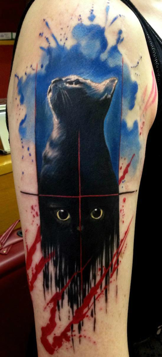 Paint flowed black cat trash polka aquarelle tattoo by for Ink flow tattoo