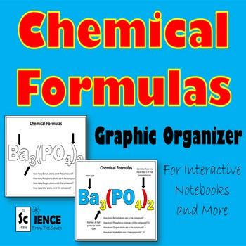 Chemical formulas graphic organizer for interactive notebooks, guided notes, practice, and more