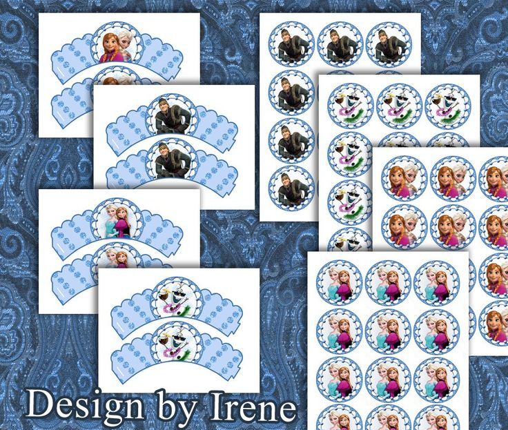FROZEN CUPCAKE Wrappers + Toppers  Frozen Cupcake Printable. Digital Downloads File.