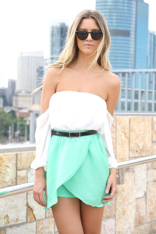 I wishGreen Skirts, Mint Green, Summer Outfit, Shoulder Tops, Minty Green, Vintage Style, Style Fashion, Sabo Skirts, Dreams Closets