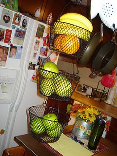 Hanging Fruit Basket made for $3 using baskets found at The Dollar Tree!