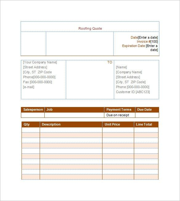 Roofing Estimate Template 10 Free Word Excel U0026 Pdf Documents