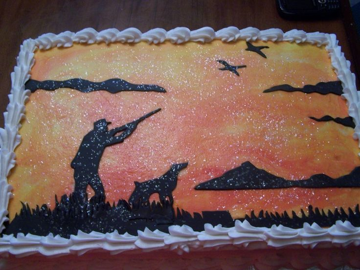 hunting scene silhouette | ... background and a duck hunting scene in black fondant silhouette