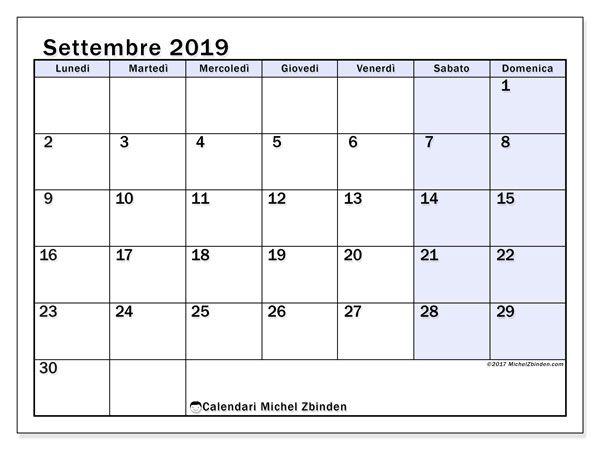 Calendario Appunti 2019.Calendario Settembre 2019 57ld Calendario2019