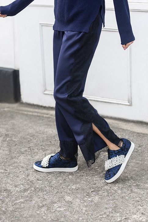 Blue Slip On Trainers Ottis by KG Kurt Geiger is here to kick your footwear dilemmas into touch this season. This slip-on skate shoe features a blue swirled textile upper blossoming with pearlescent gems that twinkle as you walk, and a pumped-up 26mm rubber sole.