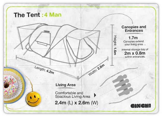$245.04 US 189.99 UK 4 person tent Our new flagship 4 man tent is THE largest pop up tent in the world. The tent is big enough for up to four people, with two doors and loads of extra storage. Ci