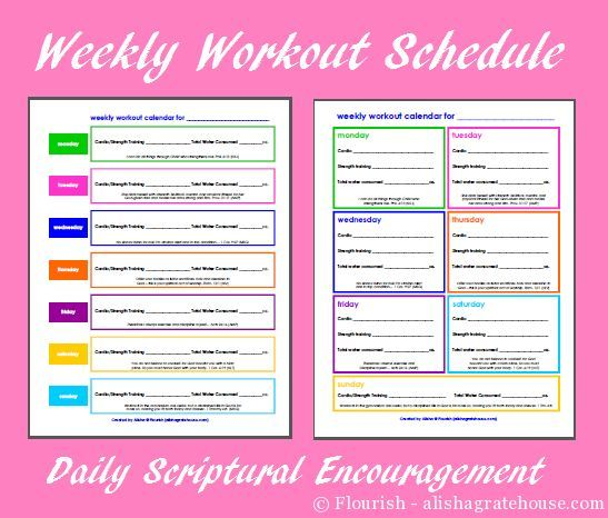 Free Printable Weekly Workout Plan - fill in your workouts ...