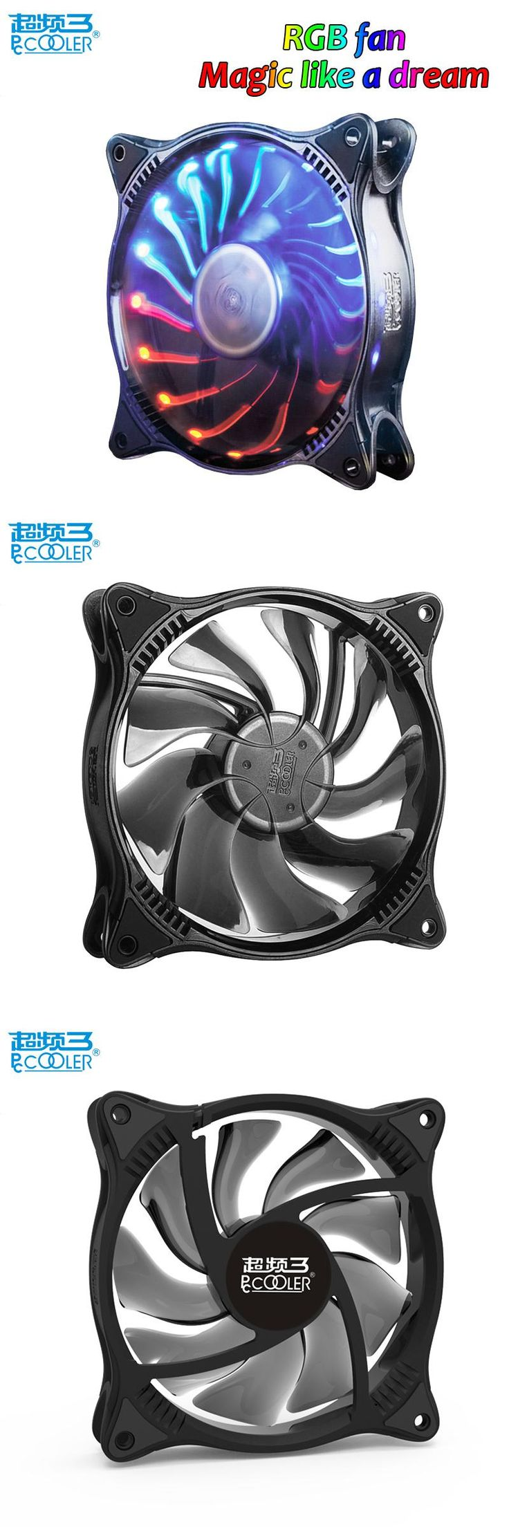 [Visit to Buy] Pccooler Starry Sky 12cm computer pc case cooling fan quite RGB magic adjustable LED 120mm CPU radiator Water cooler fan slient #Advertisement