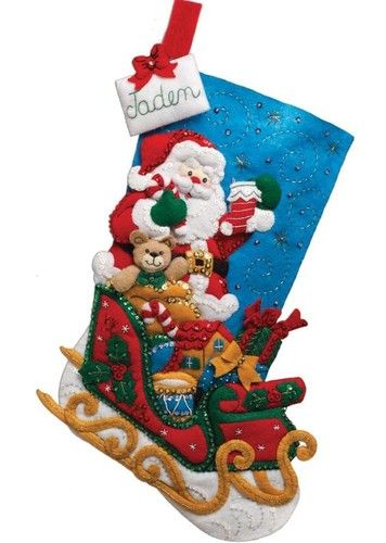 Bucilla #Felt #Applique #Embroidery #SANTA & HIS SLEIGH #Stocking ♥ #ebay #sale #Christmas #holiday #gift #home #decor #DIY #project #handcraft #handmade #needlework #stitching #personalize