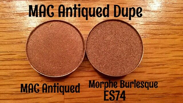 DUPE ALERT! MAC Antiqued $10 vs. Morphe Brushes ES74 Burlesque $2.29! Super Quality Eyeshadows! Ordered a few Morphe Single Eyeshadows & to my surprise..they were the EXACT same as some of my MAC shadows! Should've done my homework! Thought I would share so you don't do what I did!