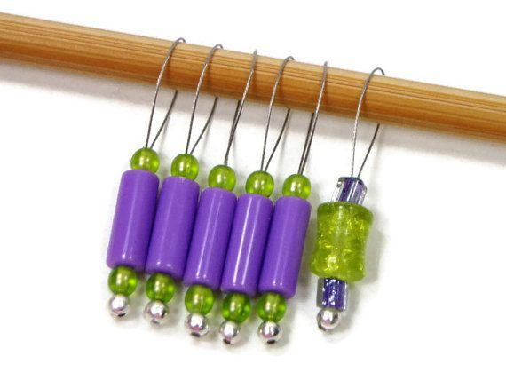 Knitting Stitch Markers Snag Free Lime Green Purple by TJBdesigns, $7.50