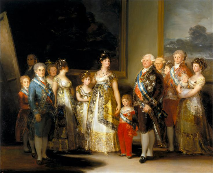 Obra histórica pintada por Goya en el 1800. Se encuentra en el Museo del Prado. Representa la familia real bajo el reinado de Carlos IV de España, situado este en el centro junto su esposa María Luisa de Parma y a la izquierda el futuro Fernando VII. Carlos IV intentó mantener la política ilustrada y reformista de su padre Carlos III