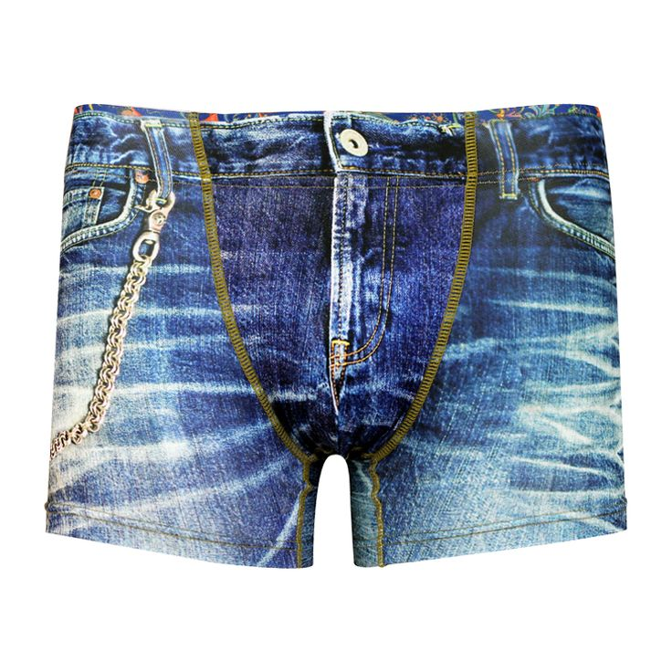 Men's Boxer Pants-Denim Blue, frontprint メンズファッション アンダーウェア ボクサーパンツ #darkshiny #mensfashion #boxerbrief