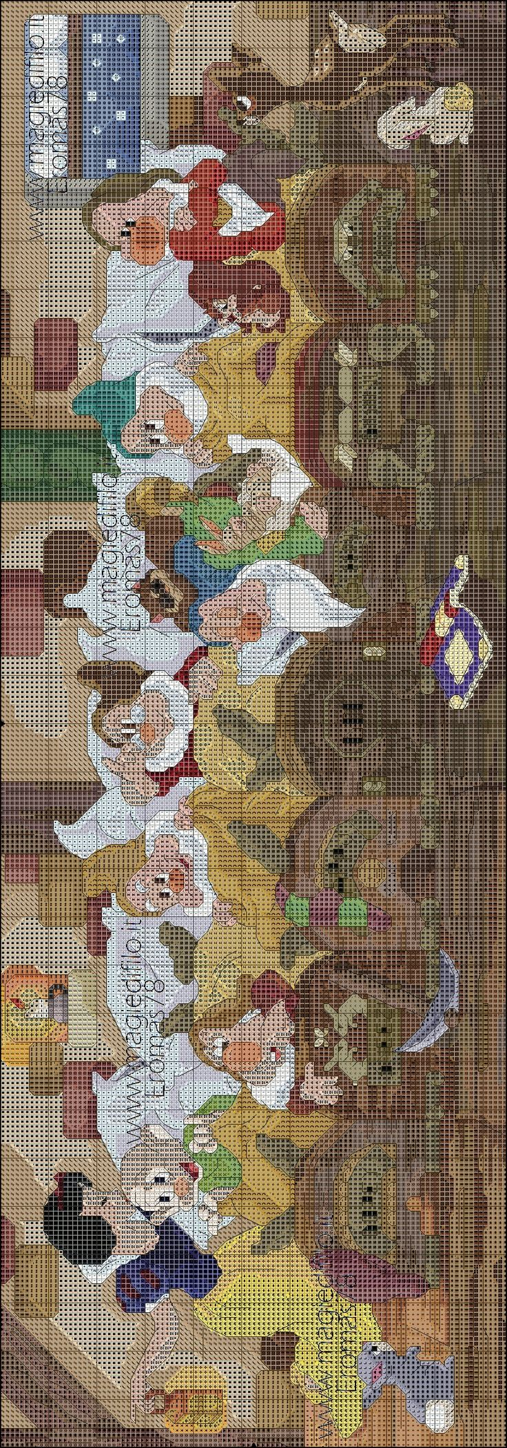 Snow White And The Seven Dwarfs -  Saved from www.magiedifilo.it (No color chart was provided)