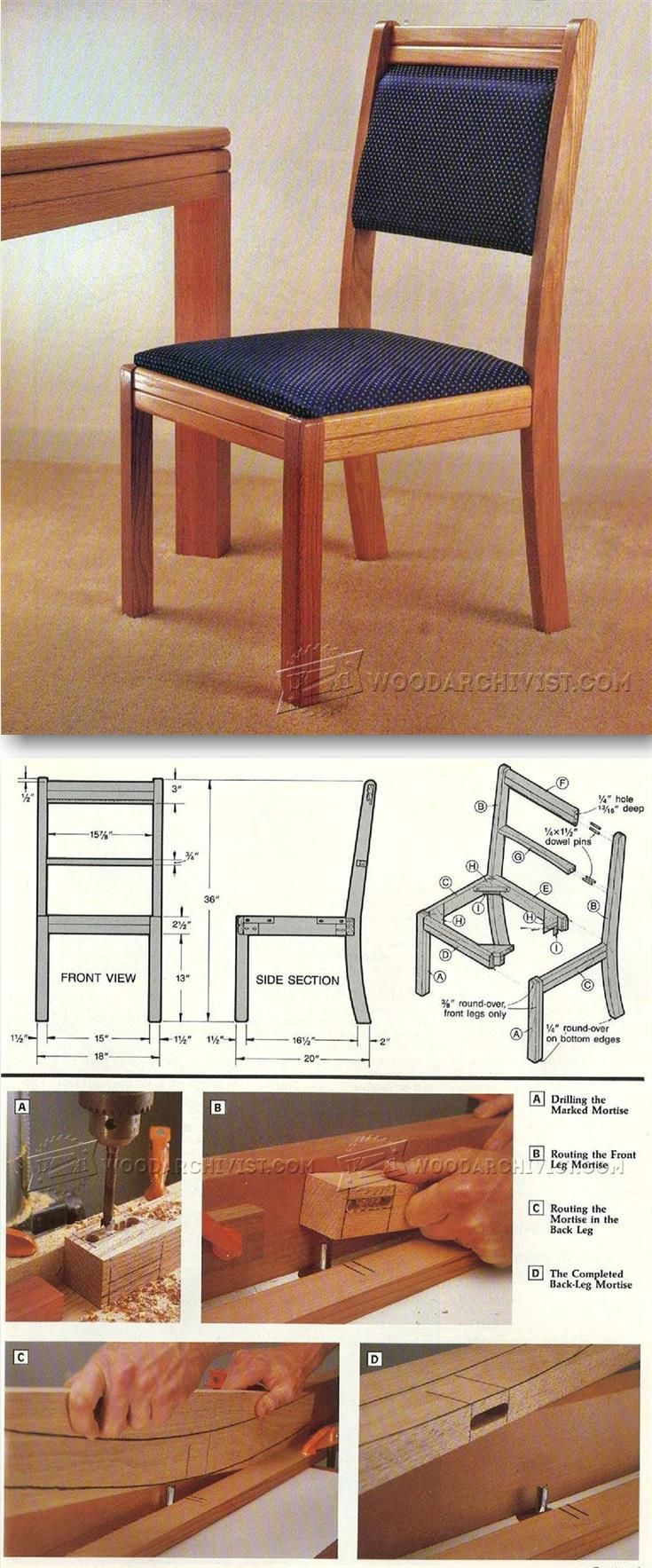 Solid Oak Dining Chair Plans - Furniture Plans and Projects | WoodArchivist.com