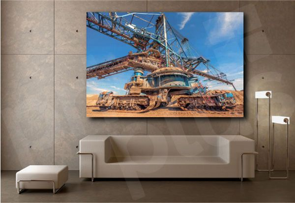 Excavator Machine In The Mine Working Canvas Art Poster Print Wall Decor