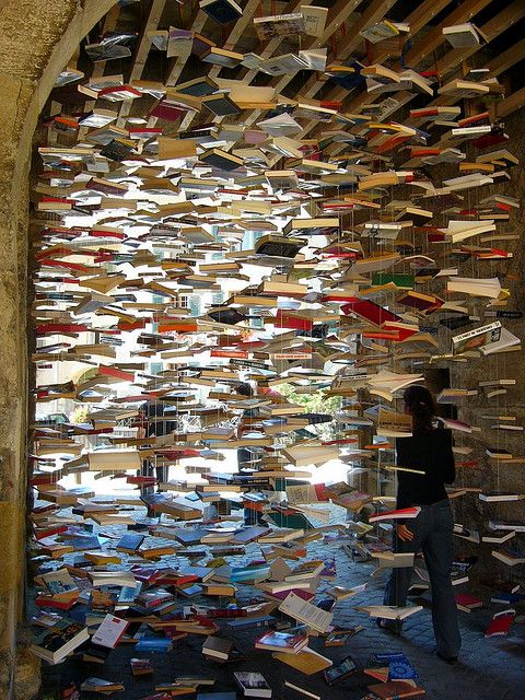 if this happened I would cry tears of joy. Raining books yay!Covers Book, Summer Picnic, Book Installations, Book Sculpture, Rain Book, Fly Book, Art Piece, Book Covers, Book Fair