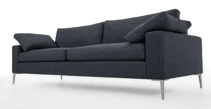 Nova Bard Gray Sofa Metal Legs Miami Showroom Gray