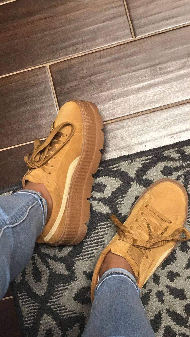Fenty Puma Cleated Creepers   #rihanna #fentyxpuma #fenty #puma #tan #creepers #shoes #cute #cleated #outfit #baddie #cute