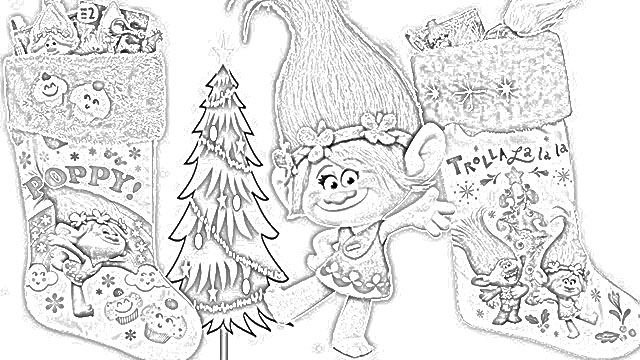 Dreamworks Trolls Coloring Pagees Holiday Filminspector Com Dreamworks Trolls Christmas Coloring Pages Dreamworks
