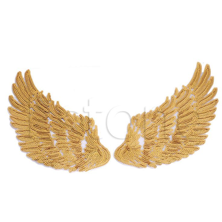 1pair Sequins Patch FOR Clothes Garments Iron SEW Angel Wings Embroidered Patch | eBay