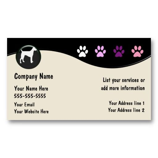 Dog grooming business cards dog grooming business pink for Pet grooming business cards