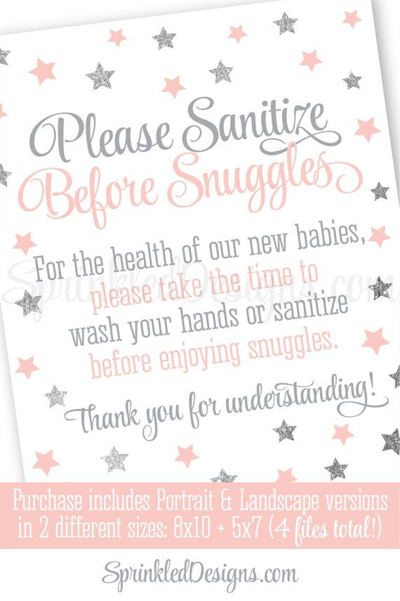 Twinkle Star Hand Sanitizer Sign Wash Hands Sanitize Snuggles Sip