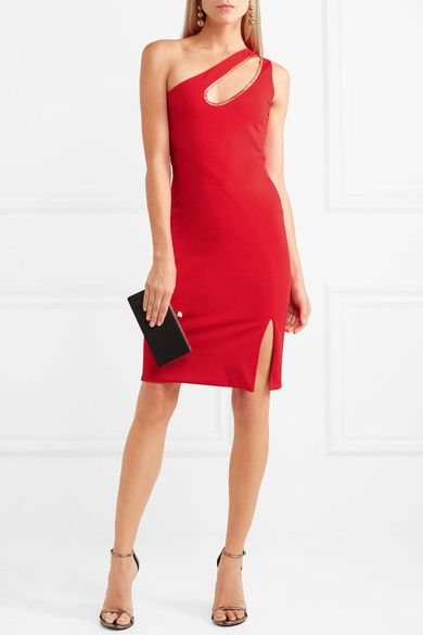 Haney - Donna One-shoulder Cutout Metallic-trimmed Stretch-jersey Dress - Red