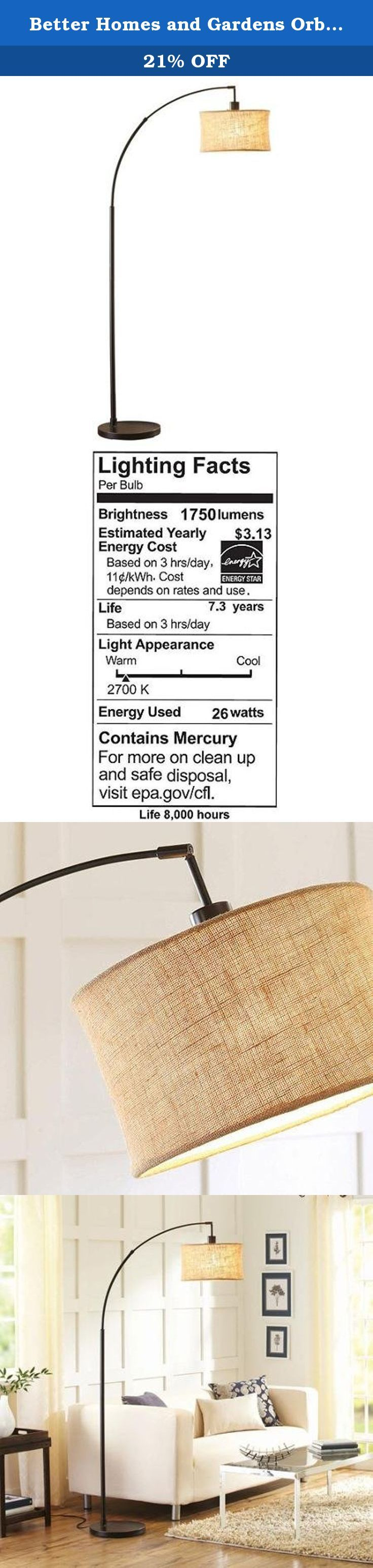 """Better Homes and Gardens Orb Burlap Arc Floor Lamp. Better Homes and Gardens Orb Burlap Arc Floor Lamp: UL listed Assembly required 12.5""""W (31.75 cm) base with 14""""D (35.56 cm) lamp shade."""