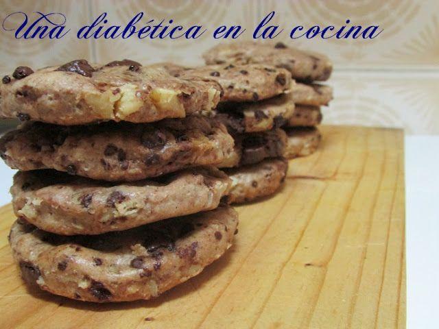 Una diabética en la cocina: Cookies integrales de chocolate y nueces aptas para diabéticos