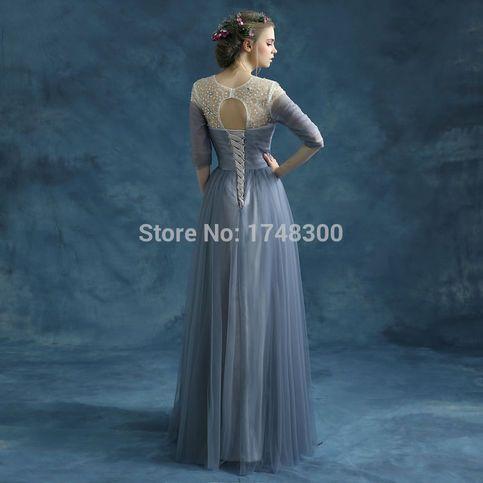 Blue Beaded Evening Dress Prom Dress Bridal Gown