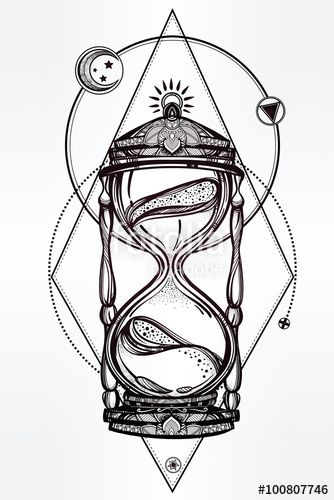 Vector: Hand drawn romantic design of a hourglass.