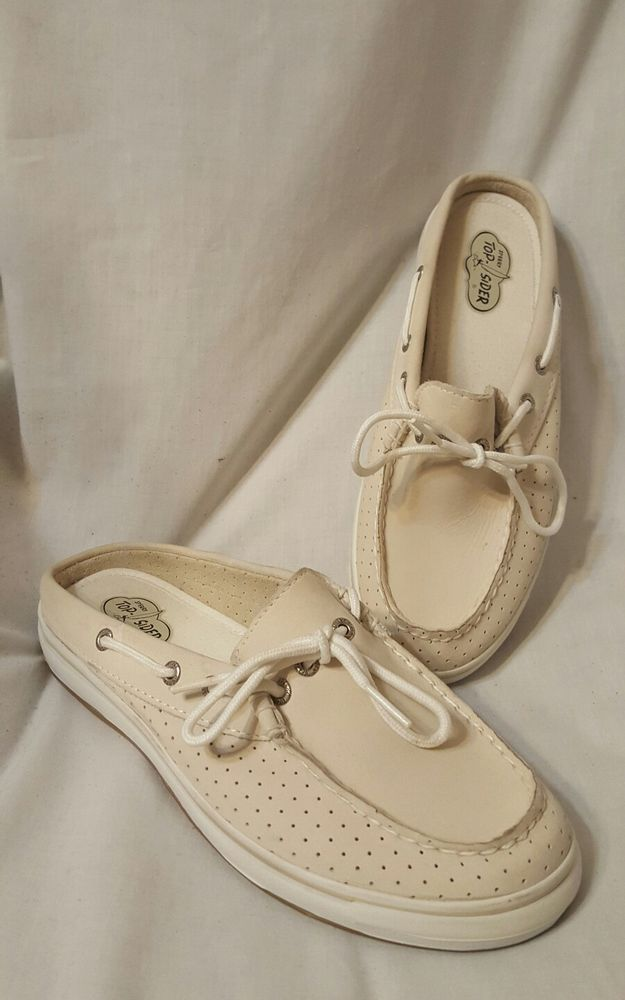 Super nice condition, look unworn<br/><br/>Fabulous condition womens Sperry Top-sider shoes size 8 M. Stylish, slip-on comfort mule. Nubuck leather uppers. Genuine handsewn Tru-Moc construction for durable comfort. 360-degree Lacing System with Rust Proof eyelets. Loose lined with stretch support for added comfort. Thick memory latex footbed & arch support for immediate cushioning and fatigue reduction. New toe bumpers combined with nautical foxing provides front... SOLD