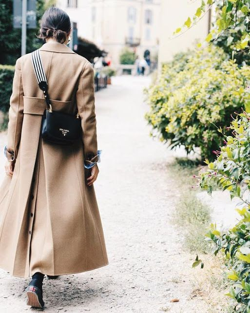 Cool Chic Style Fashion :: Camel Coat and Prada Bag