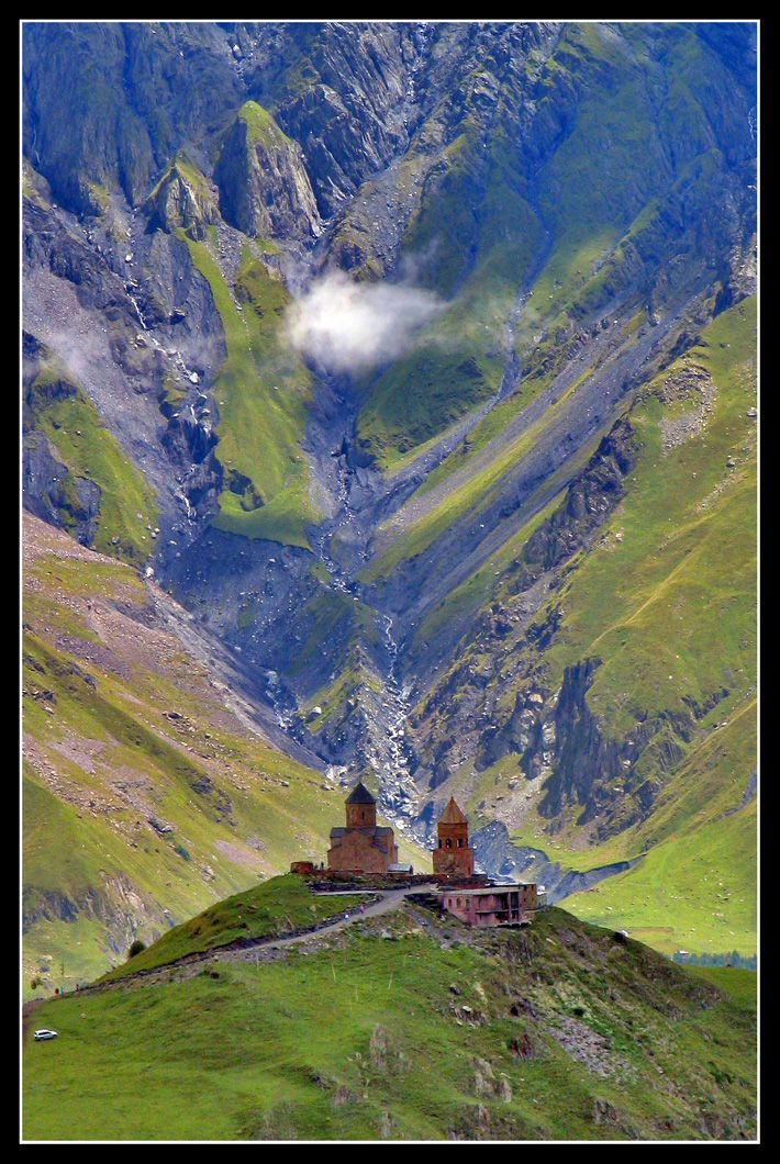 The most famous church in the Caucasus - Kazbegi, Mtskheta-Mtianeti, Georgia 14th Century Copyright: Paul VDV